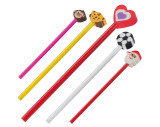 Holz-Bleistift mit verschiedenen Radiergummiaufsätzen