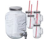 Set aus Getränkespender (4.000 ml) und 4 Glaskrügen (450 ml)
