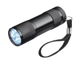 Taschenlampe aus Aluminium mit 9 LEDs, inkl. Batterien in einer Box